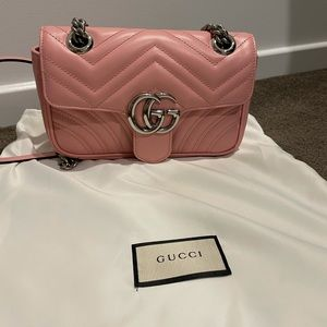 Authentic Gucci GG Marmont mini bag in Pastel Pink